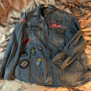 Jean button up with patches
